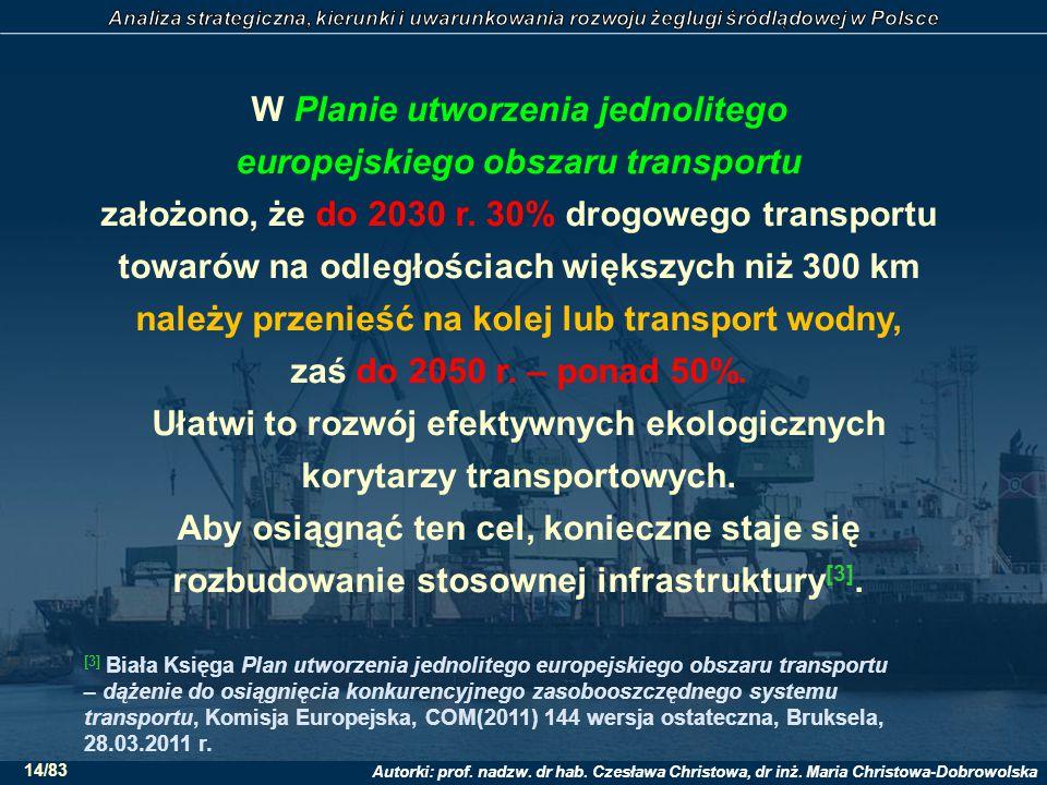 W Planie utworzenia jednolitego europejskiego obszaru transportu założono, że do 2030 r. 30% drogowego transportu towarów na odległościach większych niż 300 km należy przenieść na kolej lub transport wodny, zaś do 2050 r. – ponad 50%. Ułatwi to rozwój efektywnych ekologicznych korytarzy transportowych. Aby osiągnąć ten cel, konieczne staje się rozbudowanie stosownej infrastruktury[3].